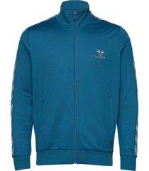 hmlnathan zip jacket sweat-shirt tröja blå hummel