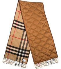 burberry vintage check lambskin trim scarf - brown
