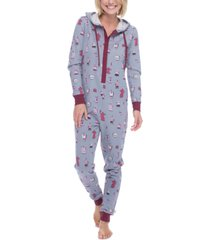 munki munki women's one-piece hooded fleece pajamas