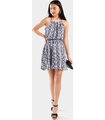 mylah snake print flawless dress - light gray