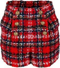 high waisted 6 button tartan tweed shorts