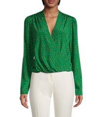 veronica beard women's saanvi floral stretch-silk top - green multi - size 00