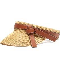 gate' straw leather visor