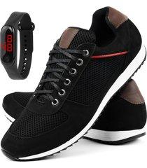 sapatãªnis jogging em couro mais relã³gio digital sapatofran preto - marrom/preto - masculino - couro - dafiti