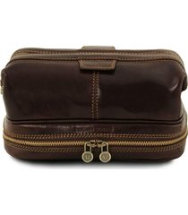 tuscany leather tl141717 patrick - beauty case in pelle testa di moro