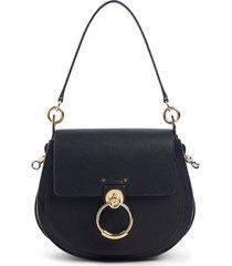 chloe large tess grained leather shoulder bag -