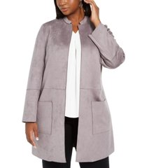 nine west plus size tie-belted faux-suede scuba jacket