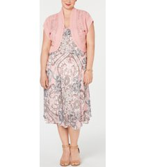robbie bee plus size printed midi dress & shrug