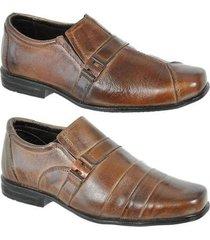 kit 2 pares sapato social em couro infantil leoppé - masculino