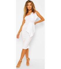 geplooide midi jurk met blote schouder, white