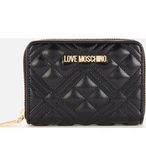 love moschino women's quilted small zip around wallet - black