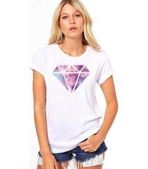 camiseta coolest diamante branco - branco - feminino - dafiti