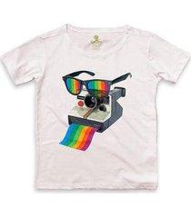camiseta ampla cool tees camera pride vision feminina - feminino