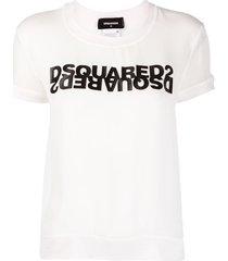 dsquared2 mirrored logo georgette top - white