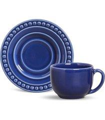 conjunto 12pçs xícaras de chá 160ml porto brasil atenas azul-marinho