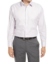 men's nordstrom men's shop traditional fit non-iron solid stretch dress shirt, size 19.5 - 36/37 - purple