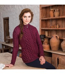 the kenmare aran cardigan purple xl