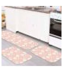 kit 3 tapetes decorativos cute coelho rosa único 40x120