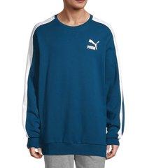 puma men's iconic t7 fleece sweatshirt - blue - size xl