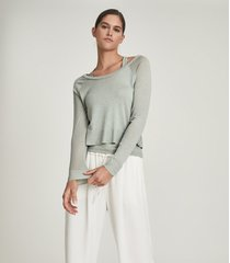 reiss ada - fine jersey double layer top in sage, womens, size xl