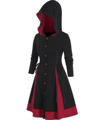 plus size hooded lace-up single breasted a line coat