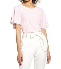 women's halogen flutter sleeve mixed media top, size x-small - pink