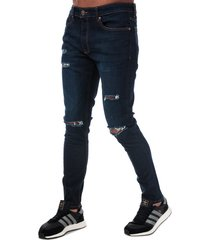 ringspun mens hercules ripped skinny fit jeans size 36r in blue