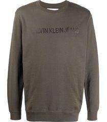 calvin klein jeans printed logo sweatshirt - grey