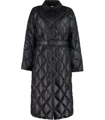 burberry belted long down jacket