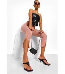 getailleerde toelopende broek met split en naaddetail, rose