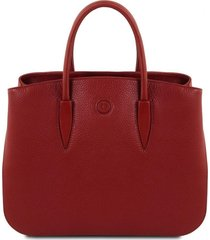 tuscany leather tl141728 camelia - borsa a mano in pelle rosso
