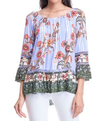 fever printed scalloped-edge top