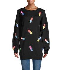 moschino women's pill-print virgin wool tunic - black - size xxs
