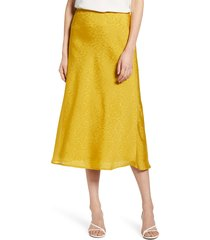 women's chelsea28 jacquard midi skirt, size xx-small - yellow