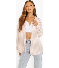 oversized gingham overhemd met textuur, blush