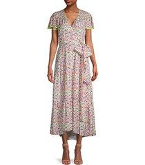 liza floral flutter-sleeve wrap dress