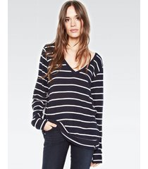 gregory v-neck pullover - l navy stripe