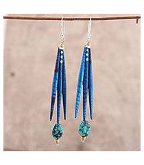 recycled paper and dolomite dangle earrings, 'blue spikes' (india)