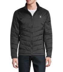 spyder men's logo full-zip quilted jacket - black - size s