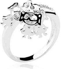 anel amor de mãe três meninas em prata