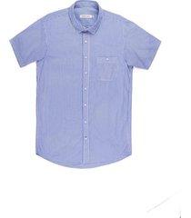 camisa casual manga corta a rayas regular fit para hombre 02338
