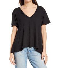women's treasure & bond mix media t-shirt, size x-large - black