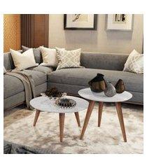 conjunto mesa centro e lateral retrô cissa - branco brilho - compre aqui