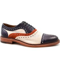 handmade white navy blue oxford shoes, dress casual brogue cap toe shoes for men