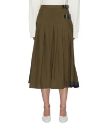 leather belt pleated wrap skirt