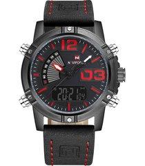 reloj cuarzo digital militar naviforce nf9095 negro rojo