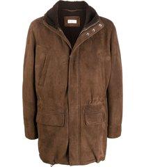 brunello cucinelli hooded sheepskin coat - brown