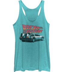 fifth sun juniors back to the future retro delorean tri-blend racer back tank
