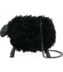 oscar de la renta sheep clutch bag - black