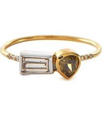 'galaxy' double diamond 18k gold ring